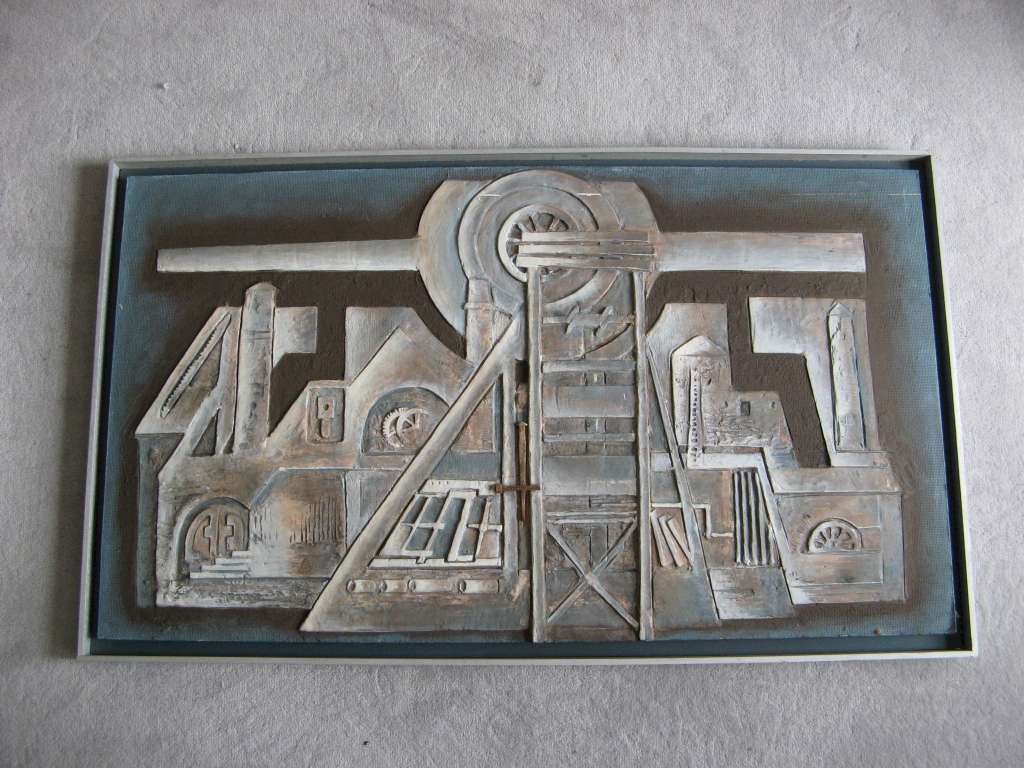 1970's  abstract plaster relief picture . Relief No 17 by Betty D Shadwell 1977
