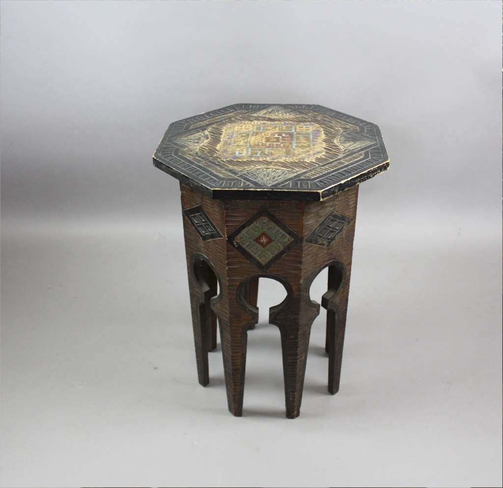 Moorish occasional table with pokerwork coloured decoration
