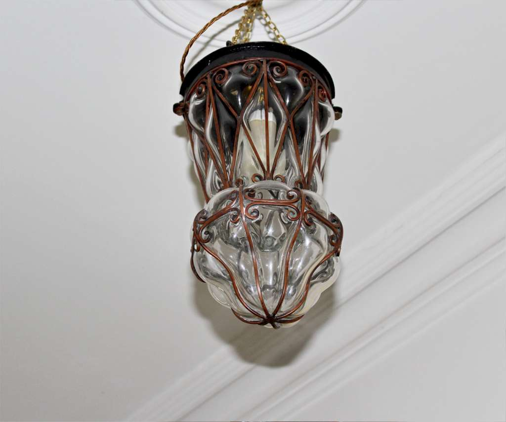 Copper lantern with clear blown glass c1950