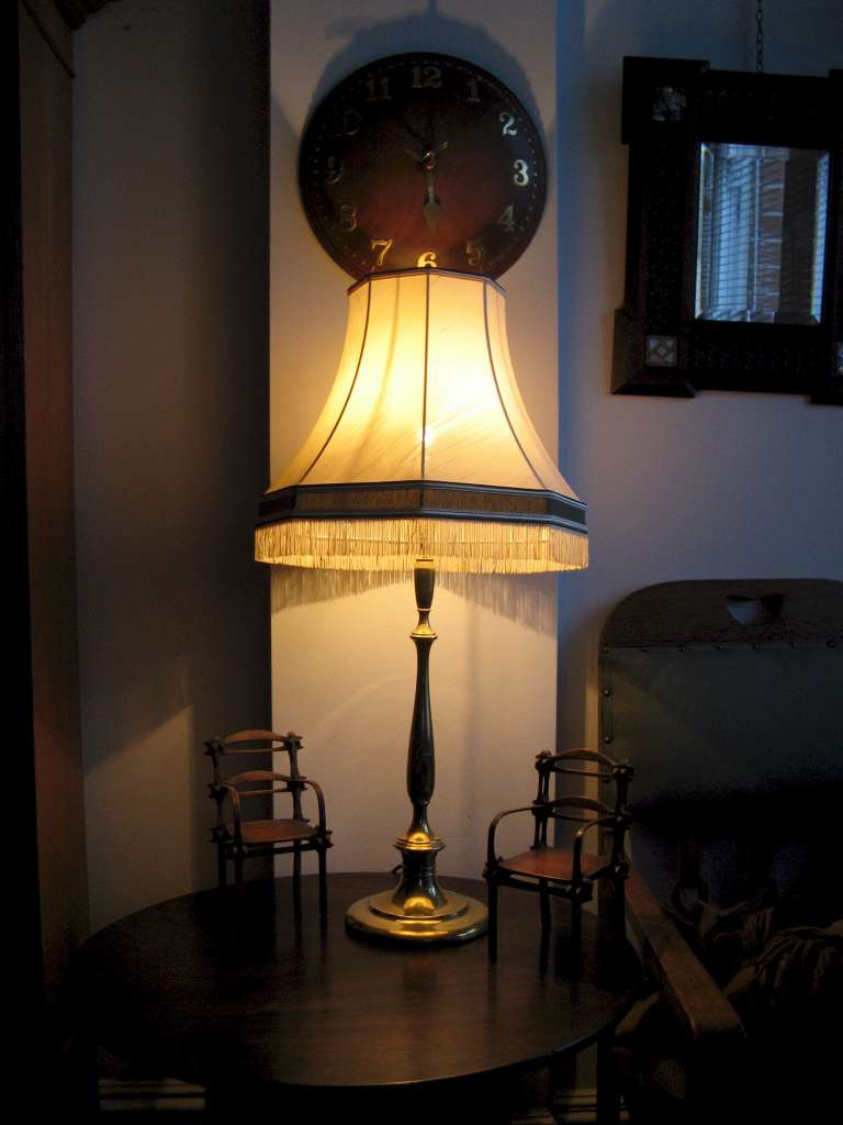 Large Edwardian brass table lamp with shade rewired with woven silk flex