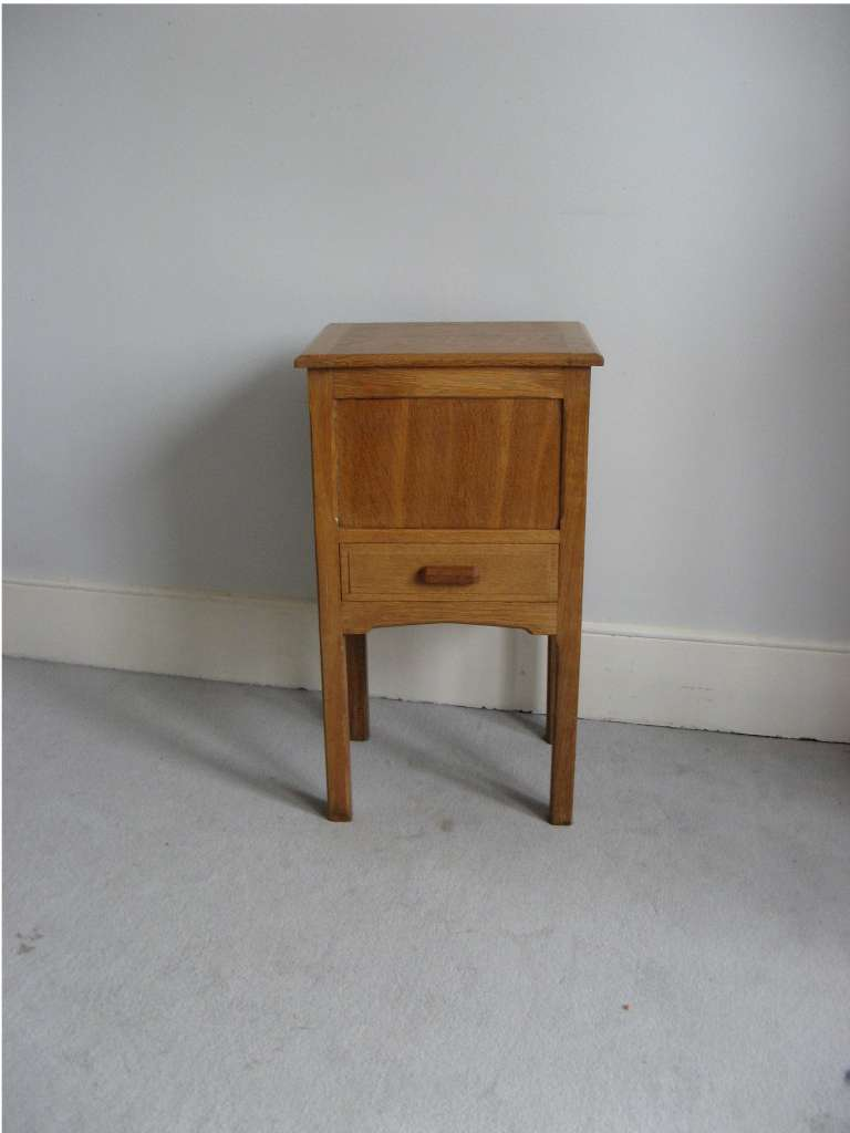Cotswold School oak work / night / sewing table / cabinet with compartmental drawer and lift up top