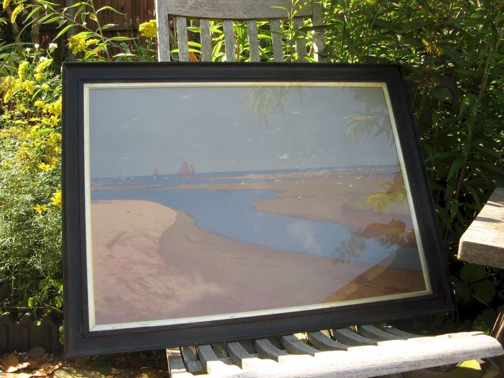 Arts and Crafts period oak framed print of a lower Elbe seascape scene by German artist and graphic