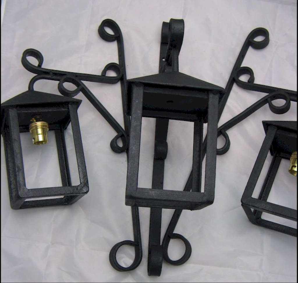 Set of Three iron wall light / lanterns