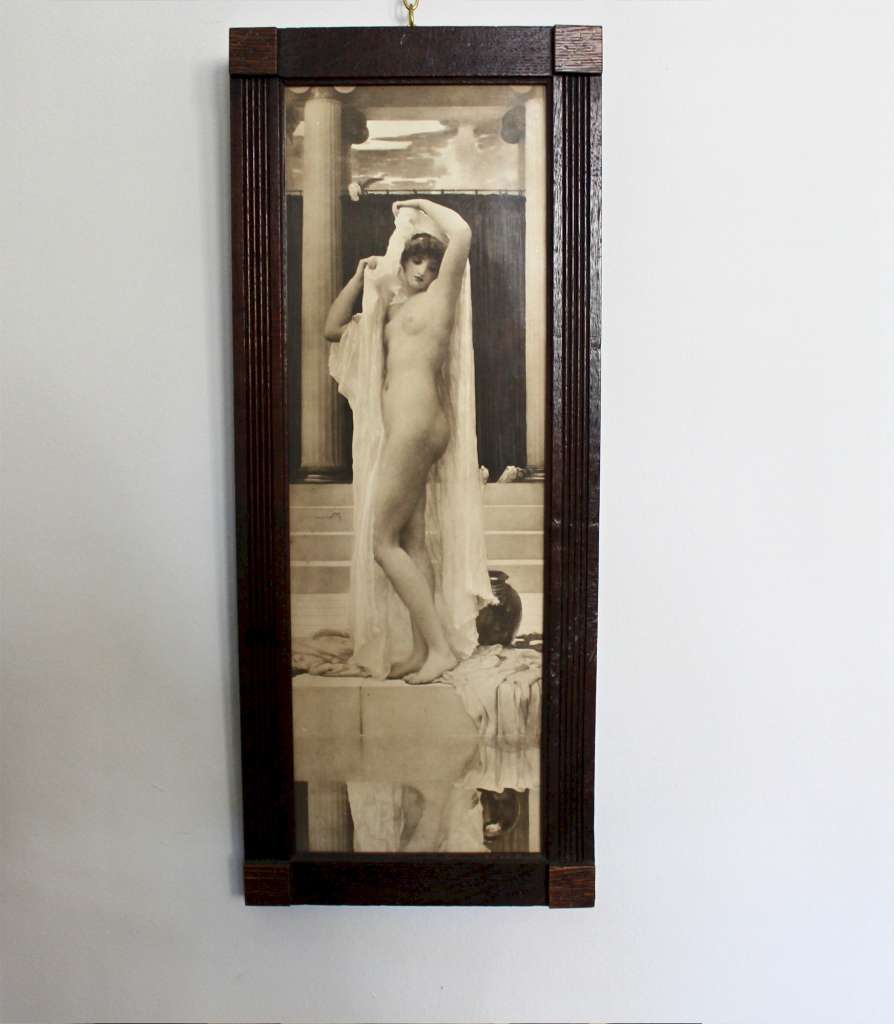 An original period framed print of the pre raphaelite painting by Frederick Leighton in period oak f