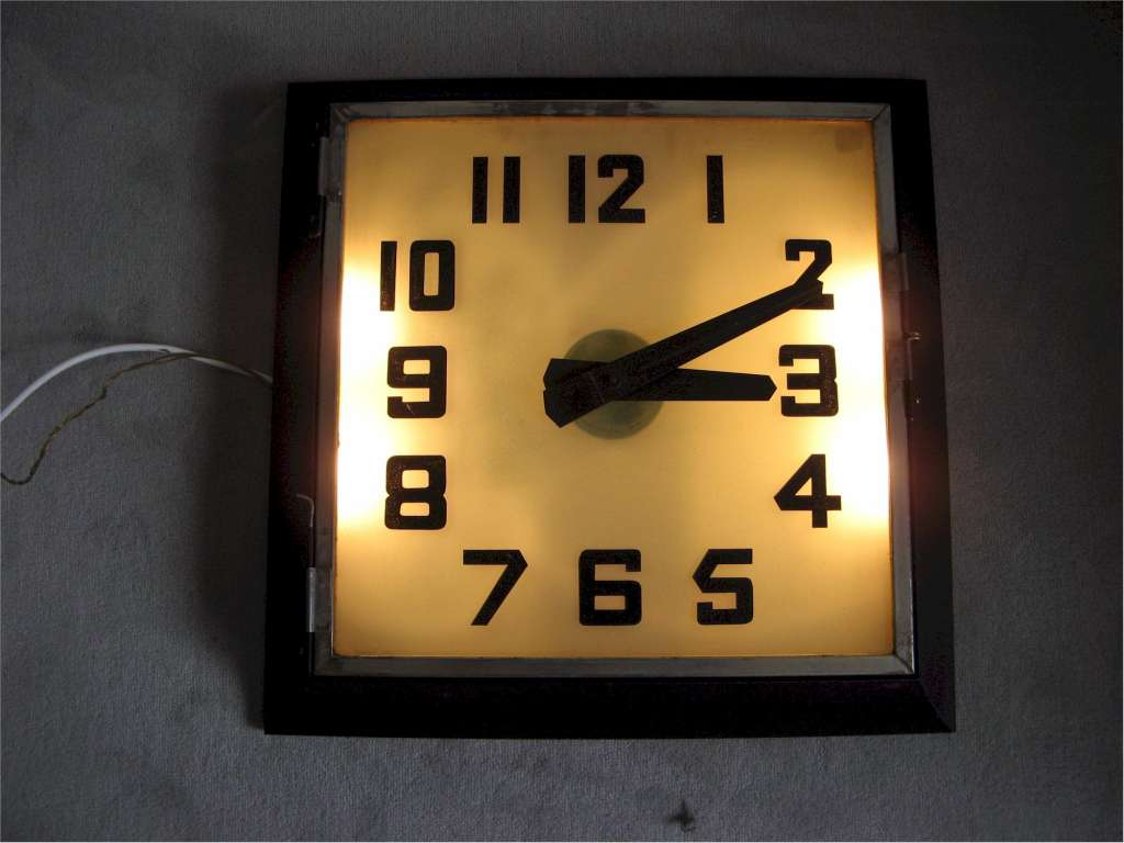 Art Deco REX Cinema clock with frosted illuminated glass dial
