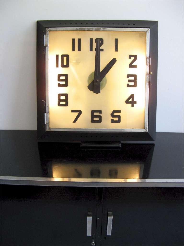 Art Deco REX Cinema clock with frosted illuminated glass dial . Movement replaced with top quality q