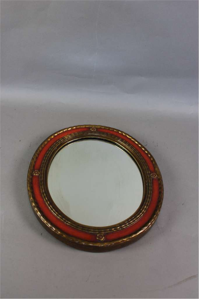 Rowley Gallery orange and gilt framed mirror