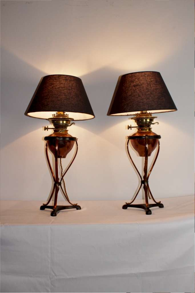 Pair of arts and crafts table lamps by W.A.S Benson
