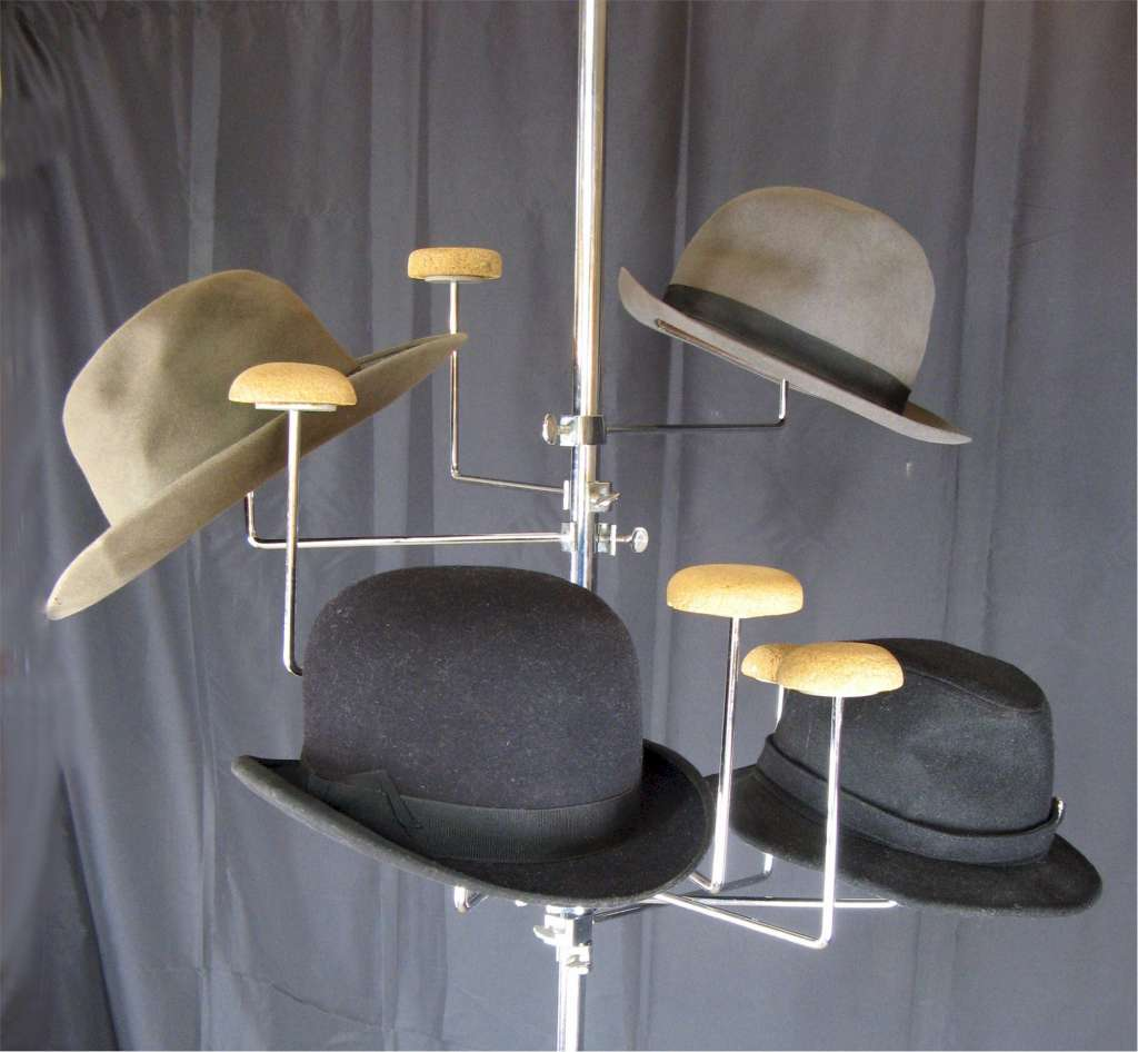 Vintage shop fitting. Chrome hat  rack on telescopic sprung pole