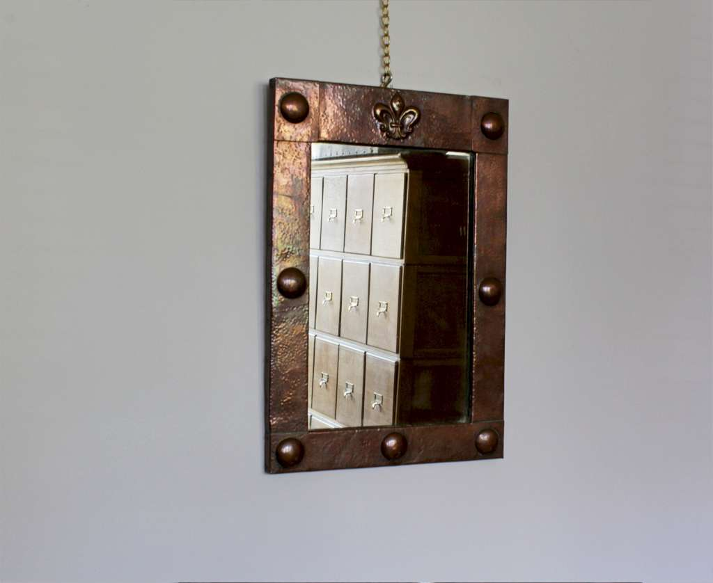 Arts and Crafts  copper framed mirror