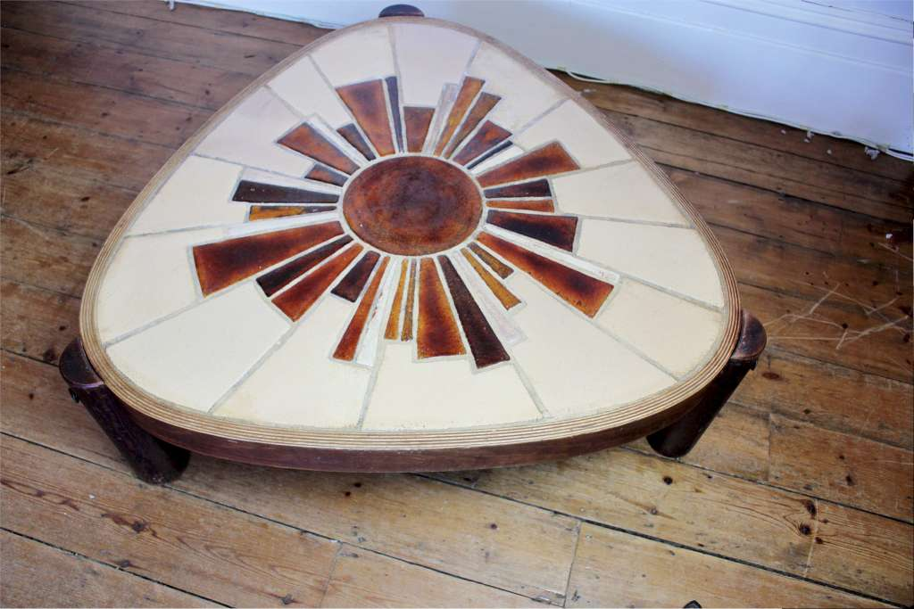 Roger Capron 1922-2006 Vallauris 1970's tiled top coffee table