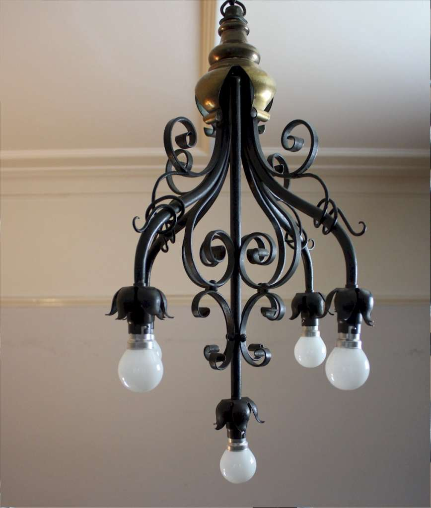 Arts and Crafts five branch hanging lamp made from iron and brass
