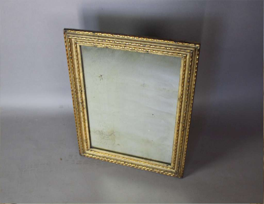 Antique rectangular French gilt wall mirror