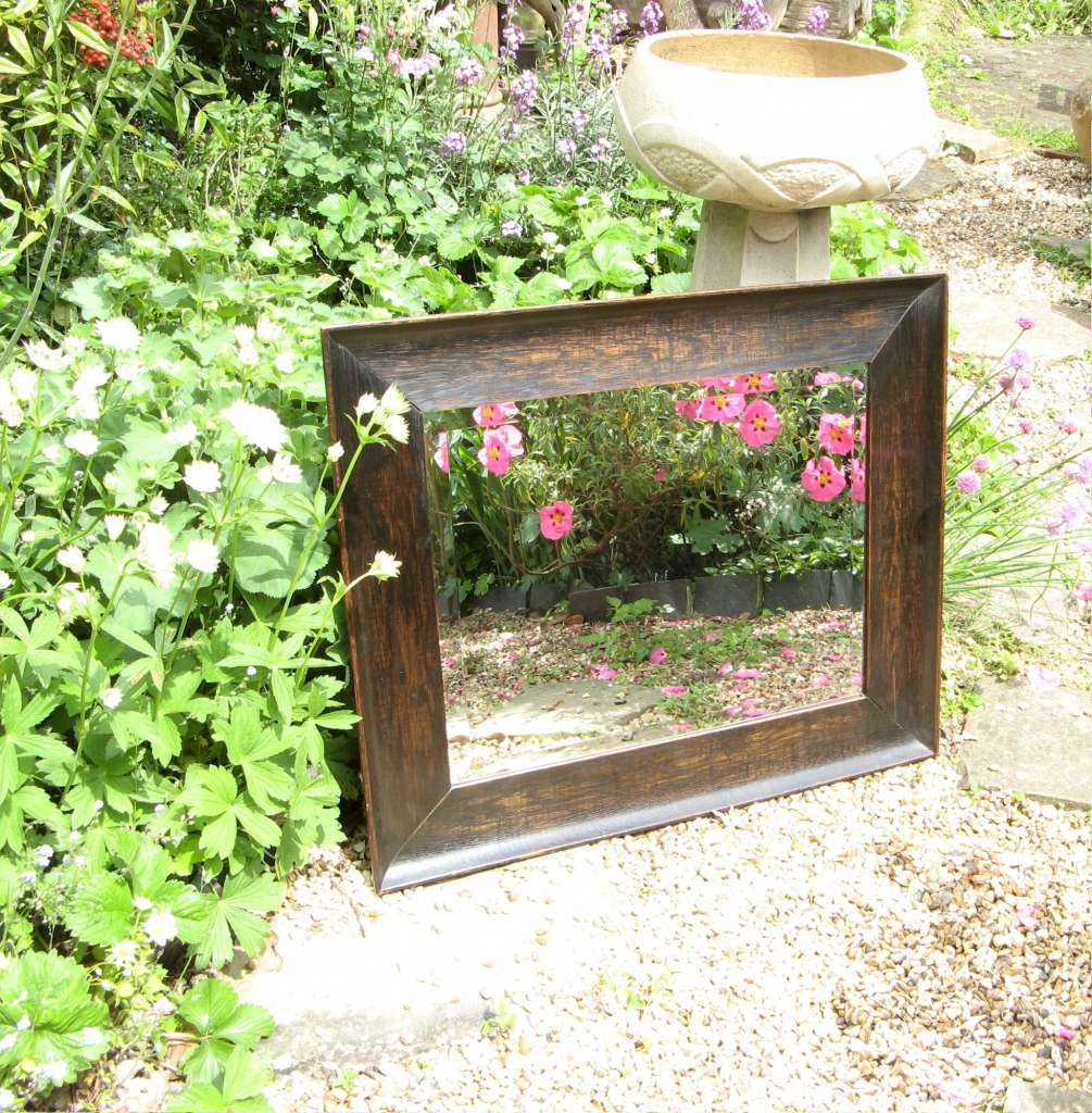 Edwardian arts and crafts period oak framed mirror