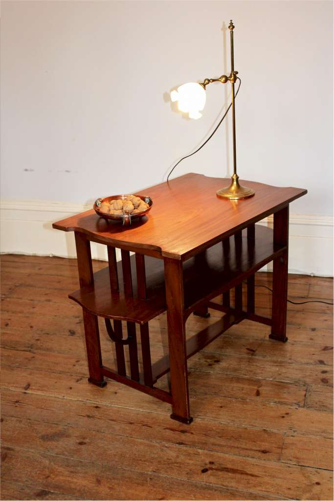 Arts and Crafts tea table by Liberty & Co in mahogany illustrated in the studio c1906 designed by Le