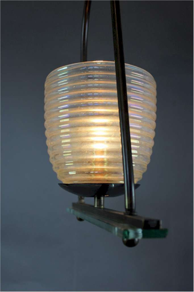 Stylish 1950's Italian hanging lamp with an iridescent shade