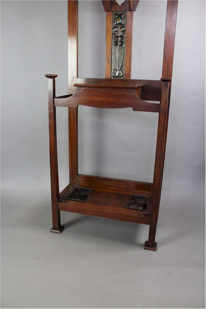 Shapland and Petter hallstand with enamelled and copper decoration