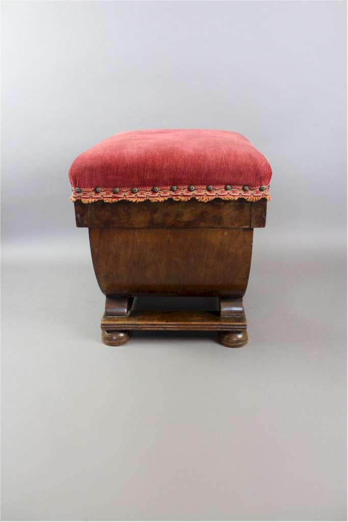 Art Deco stool in burr walnut