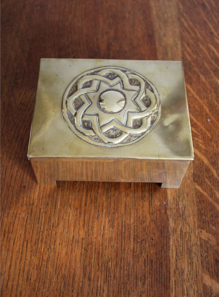 Brass Celtic knot arts and crafts casket Scottish School