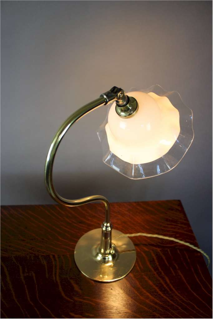 Brass table lamp with white shade c1915