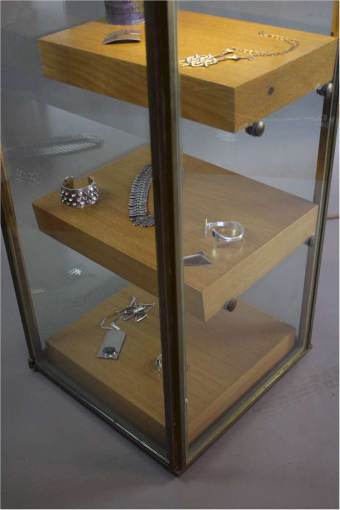 Good quality brass framed shop display cabinet c1970