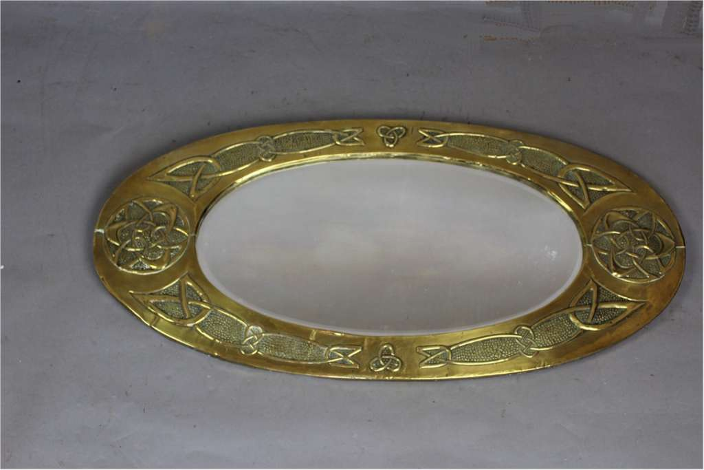 Arts and Crafts oval brass mirror with Celtic Knot design