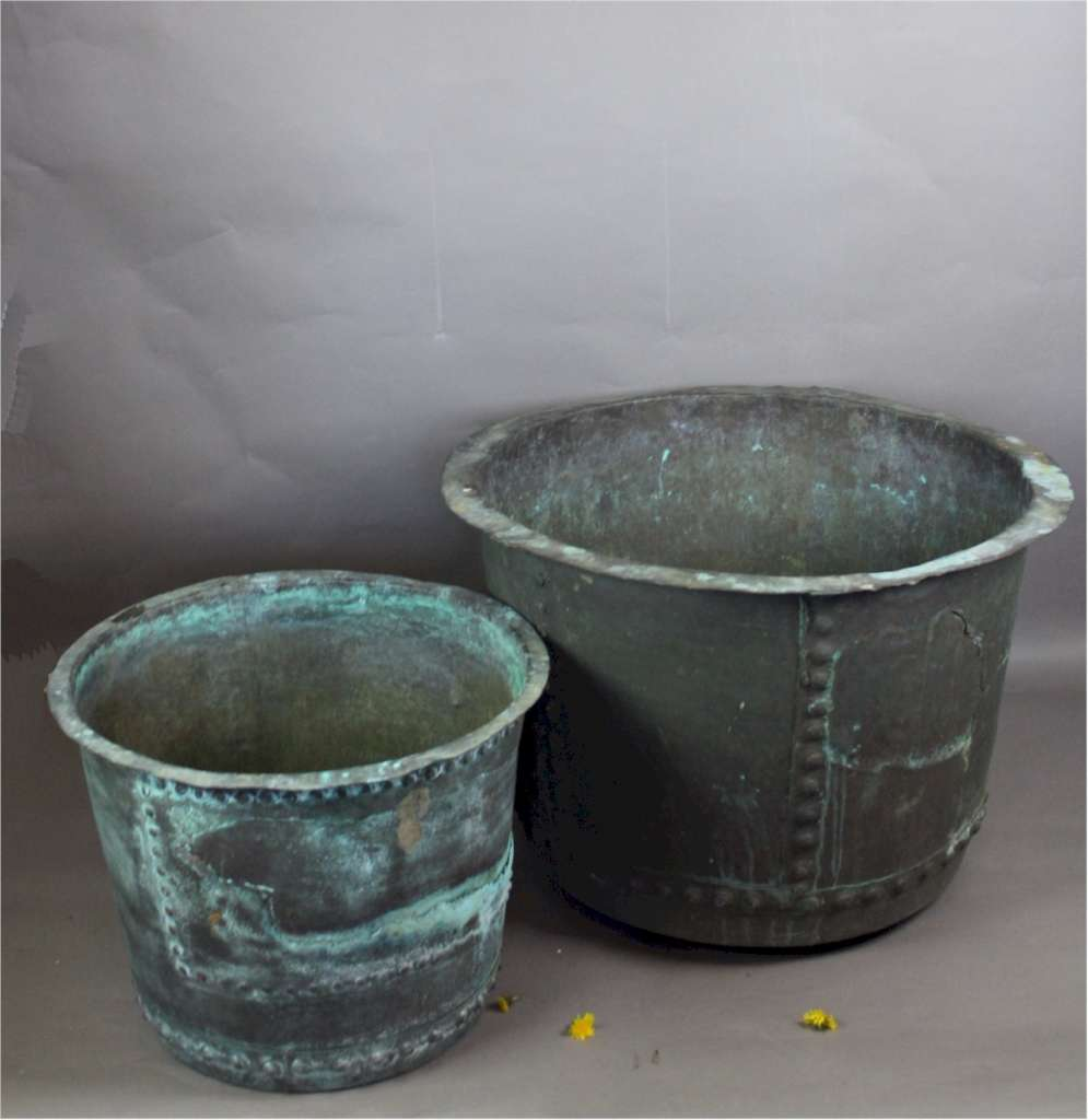 Antique large riveted verdigris copper garden planter