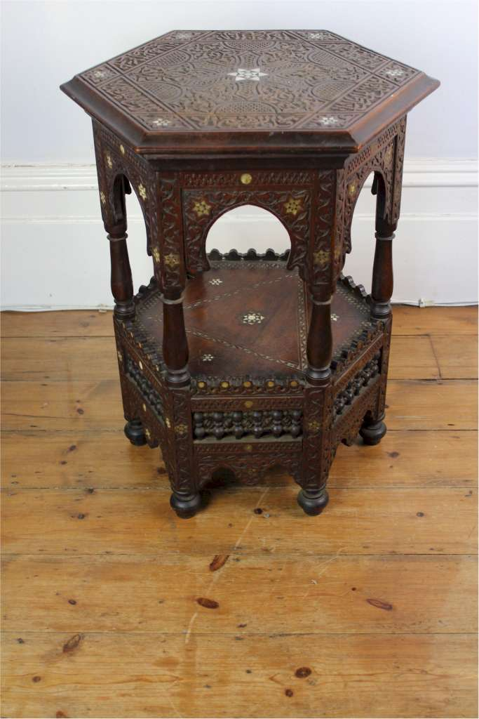 Antique Moorish , Eastern occasional table with bone inlay