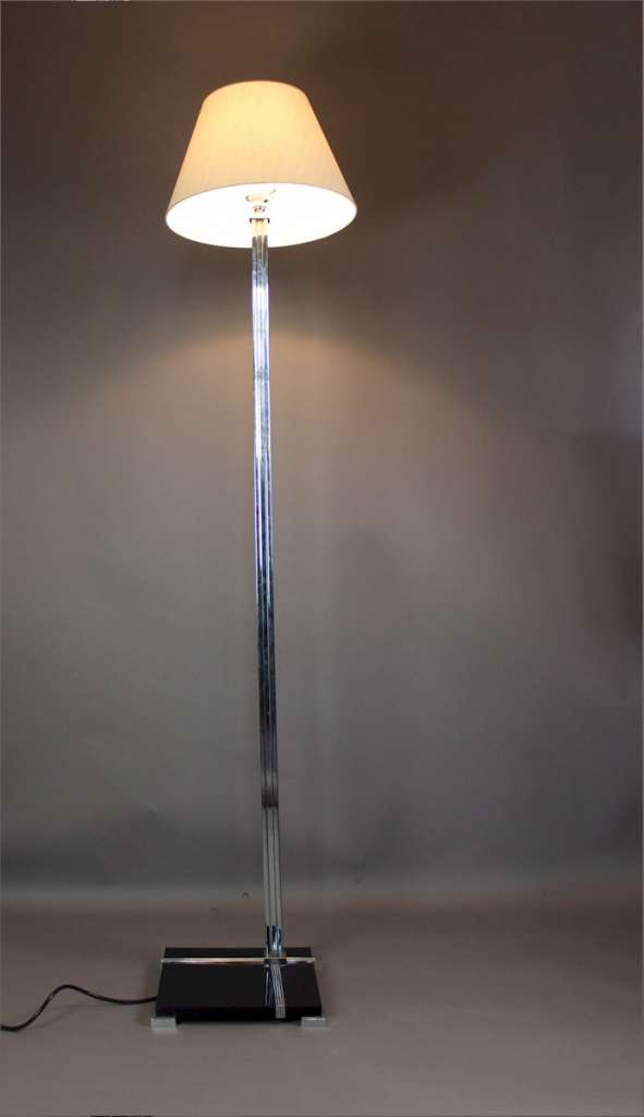 Art Deco floor lamp black lacquered and chrome
