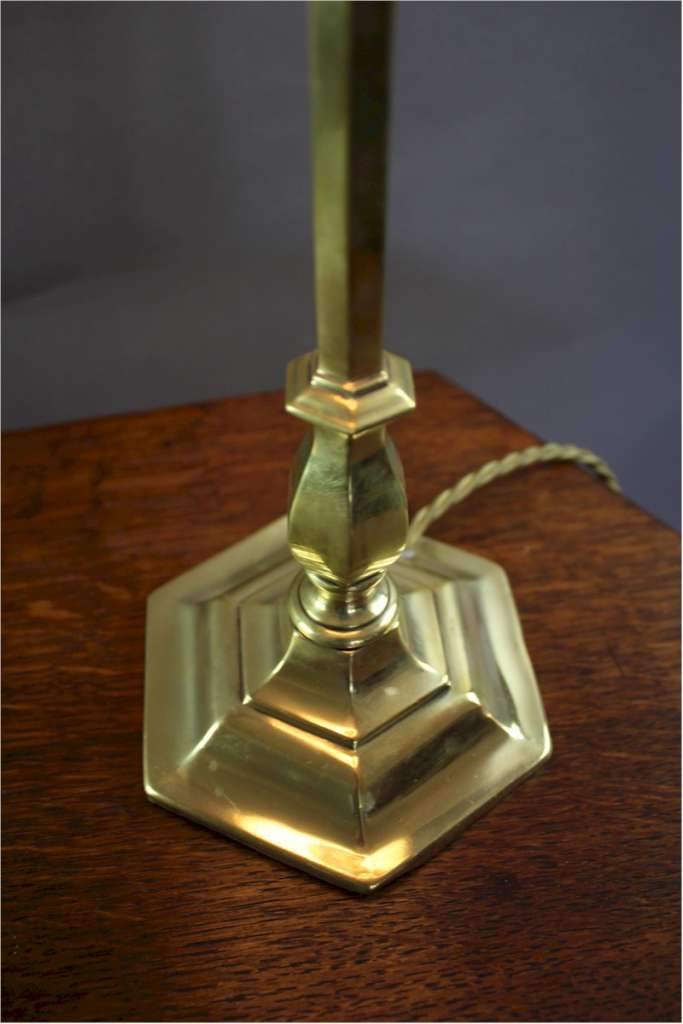 Edwardian brass table lamp hexagonal stepped base