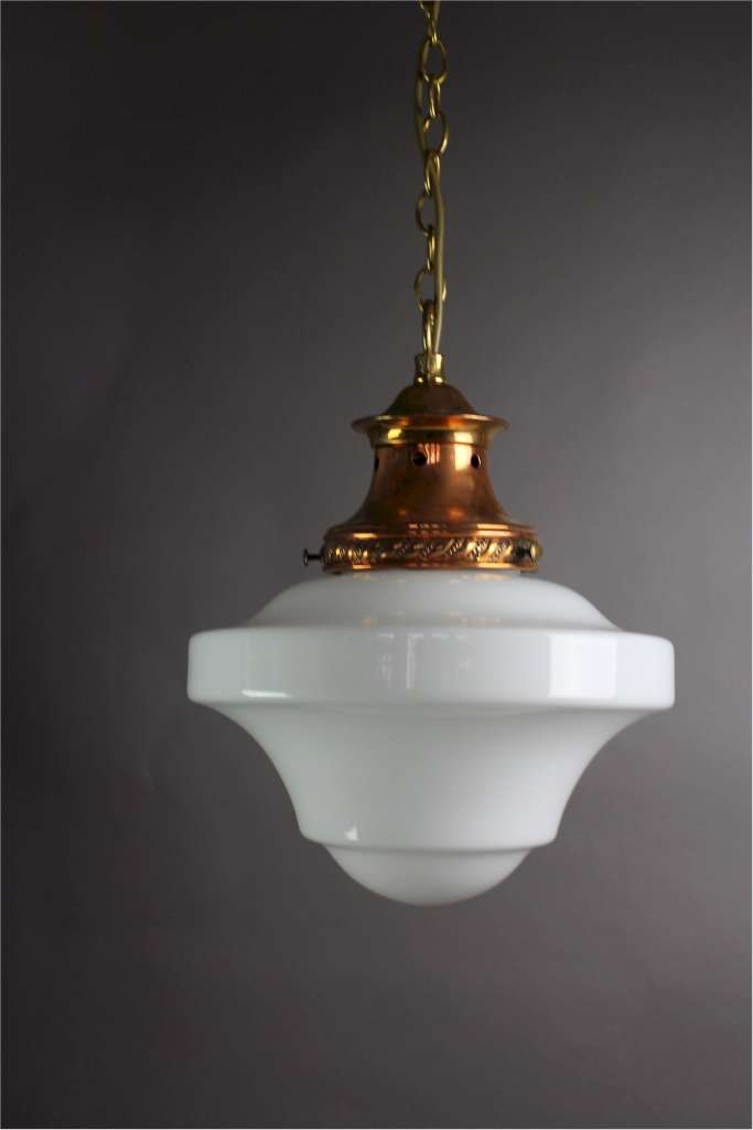 Edwardian pendant light copper fitting with milk shade