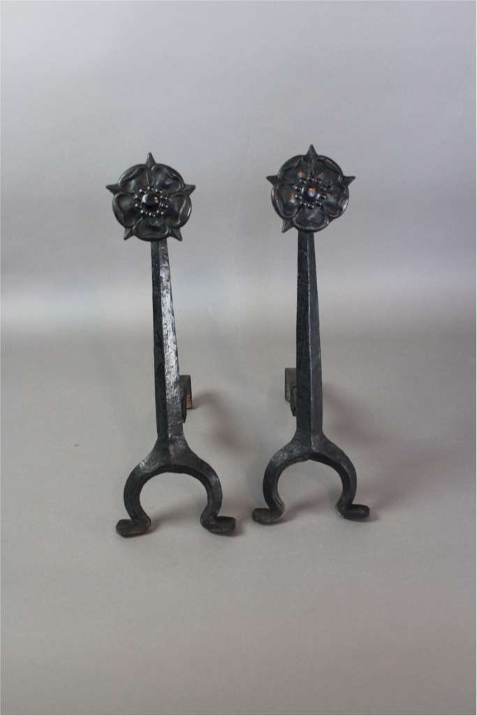 Arts and Crafts pair of iron fire dogs