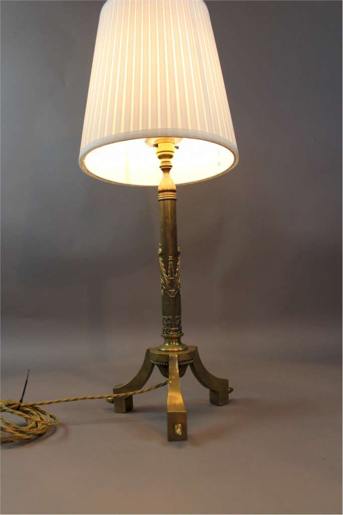 Gothic brass table lamp c1890