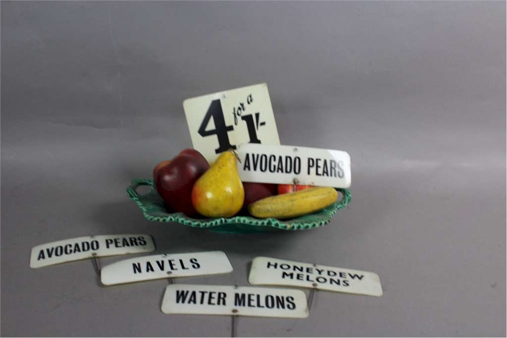 Vintage greengrocer plastic product signs