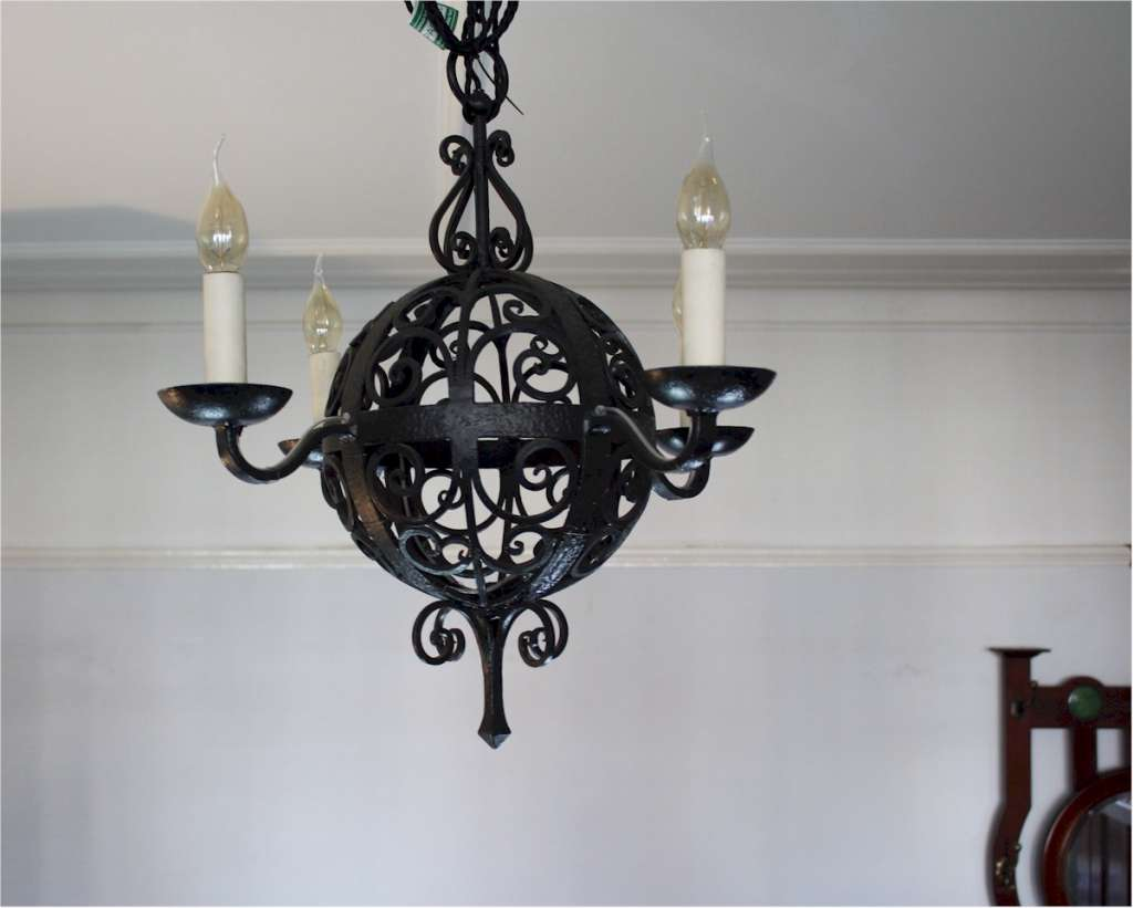 Arts and crafts iron hanging four branch ceiling lamp .c1910