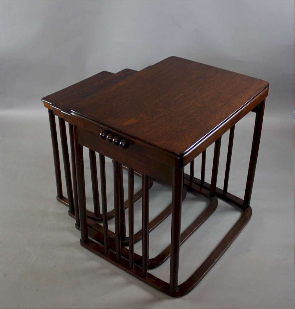 Josef Hoffmann Nest of four Tables by J.J.Kohn c1900