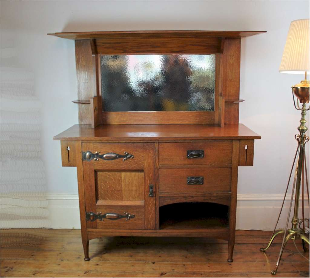 Classic arts and crafts sideboard by Harris Lebus c1900