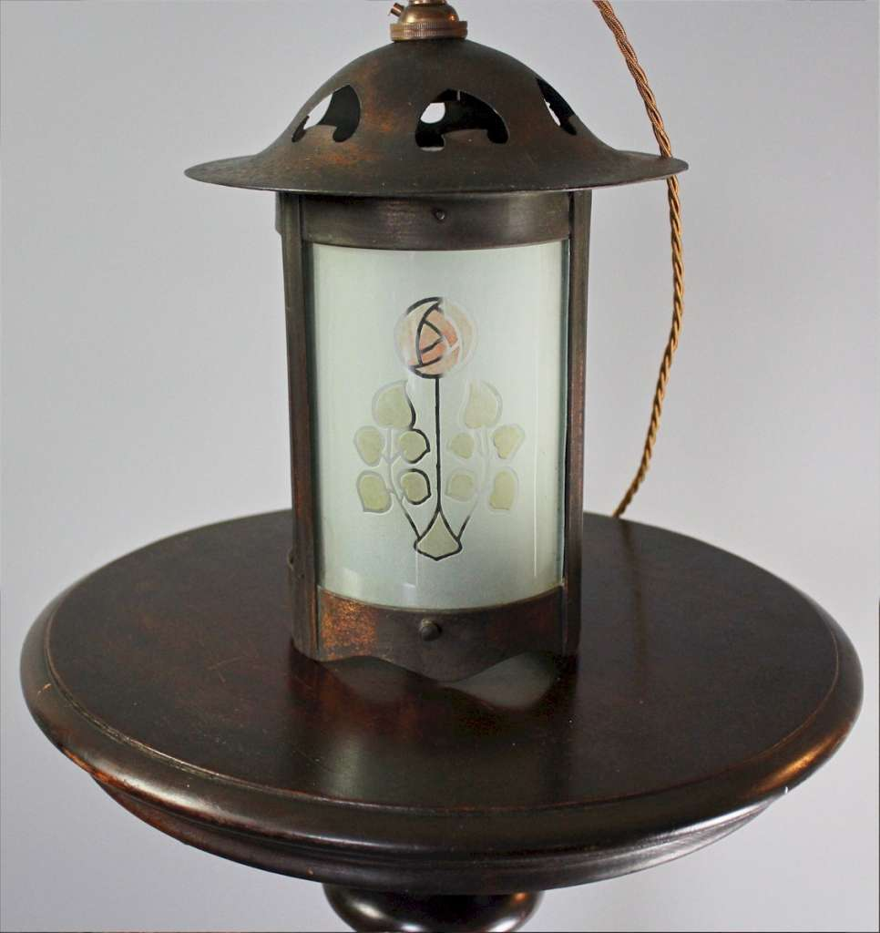 Arts and Crafts lantern with Scottish rose and hearts