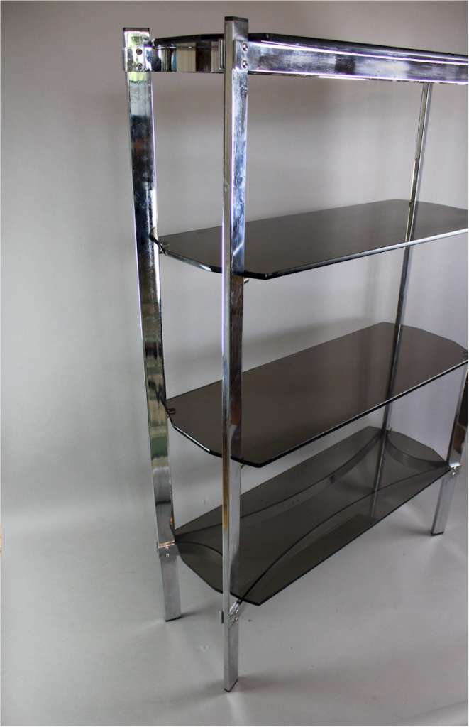 Merrow Associates chrome shelf unit with four smoked glass shelves