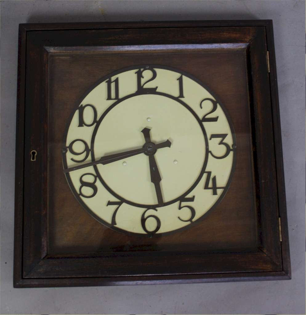 Smith's 1920's Office clock in mahogany stained frame