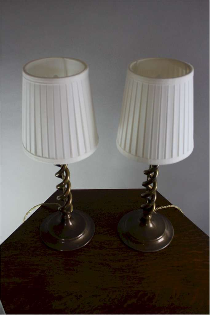 Pair of brass barley twist table lamps c1920's