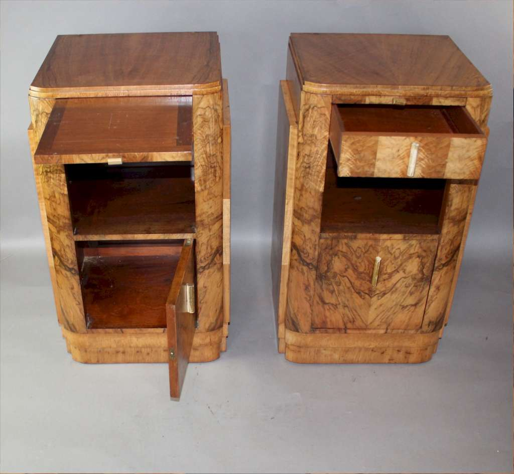 Pair of Deco burr walnut bedside cabinets