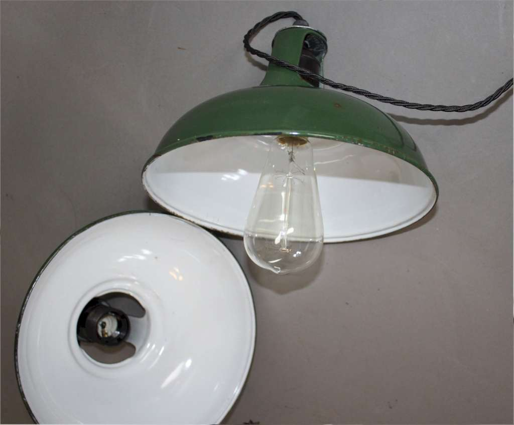 Pair of small green enamelled factory lights