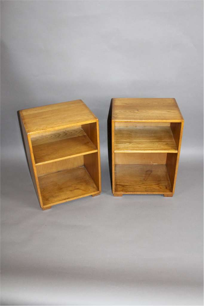 Pair of oak Cotswold School bedside cabinets with exposed dovetails