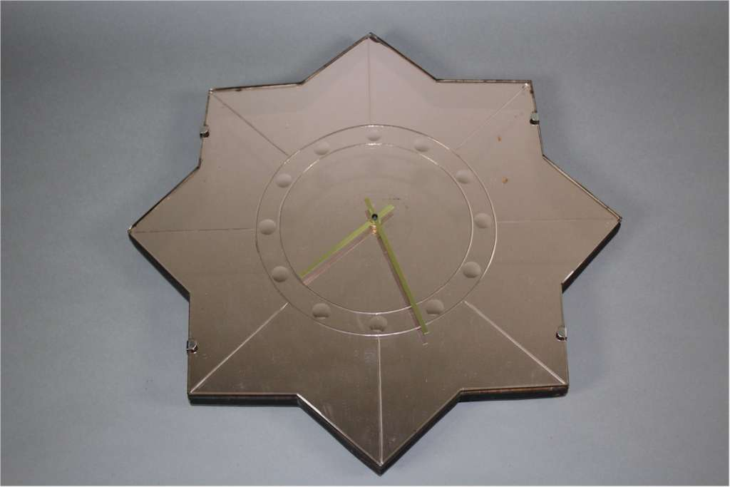 Art Deco peach mirrored wall clock of star form