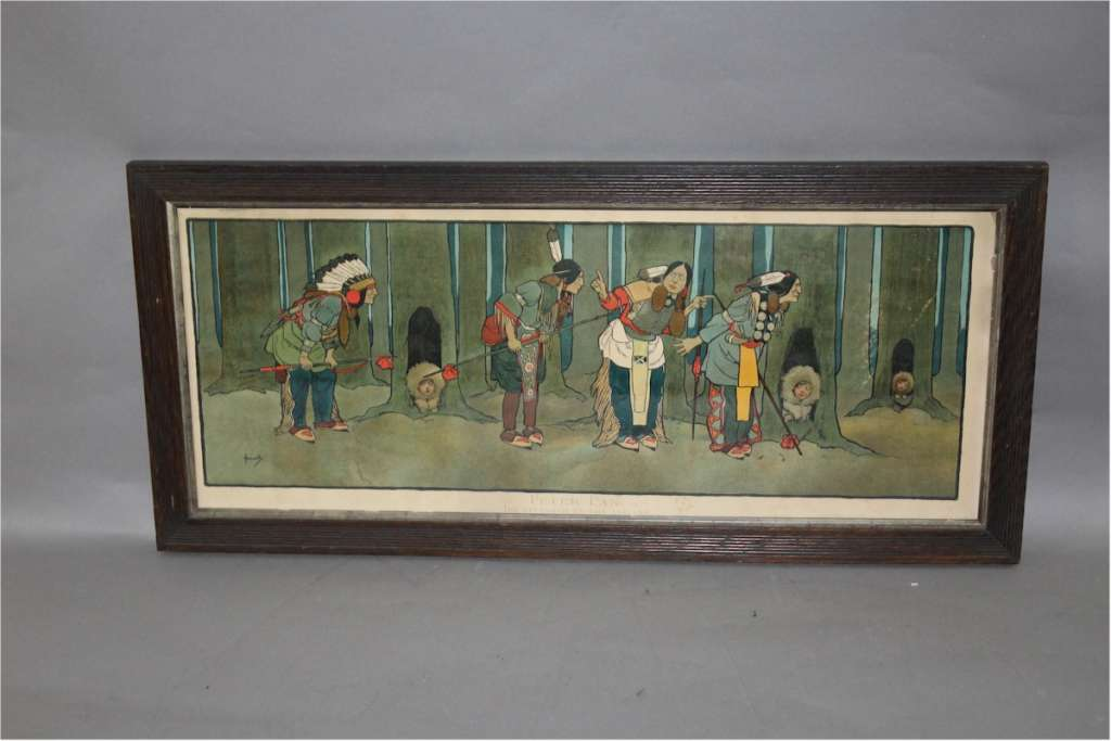 Peter Pan Red Indians by arts and crafts artist John Hassall