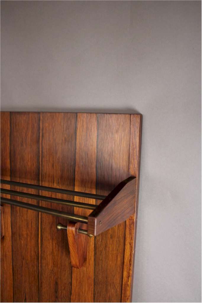 Mid-Century rosewood hallstands with brass and rosewood shelf / hooks. c1960's