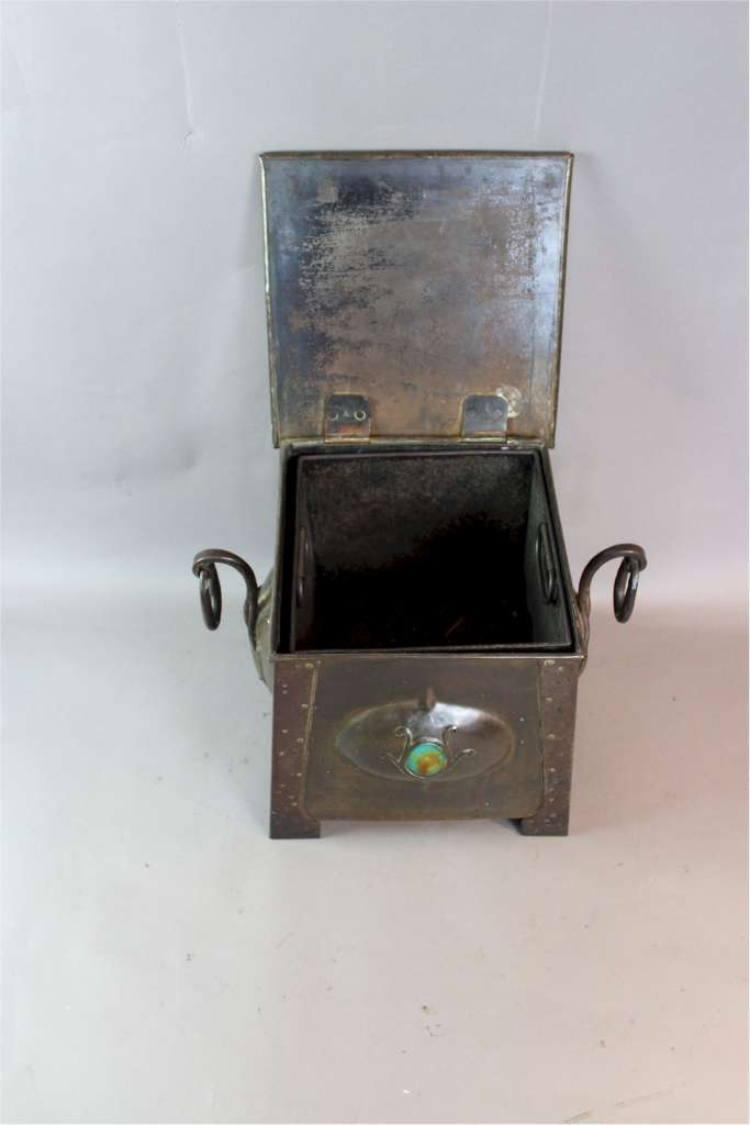 Arts and Crafts copper coal scuttle with Ruskin inserts