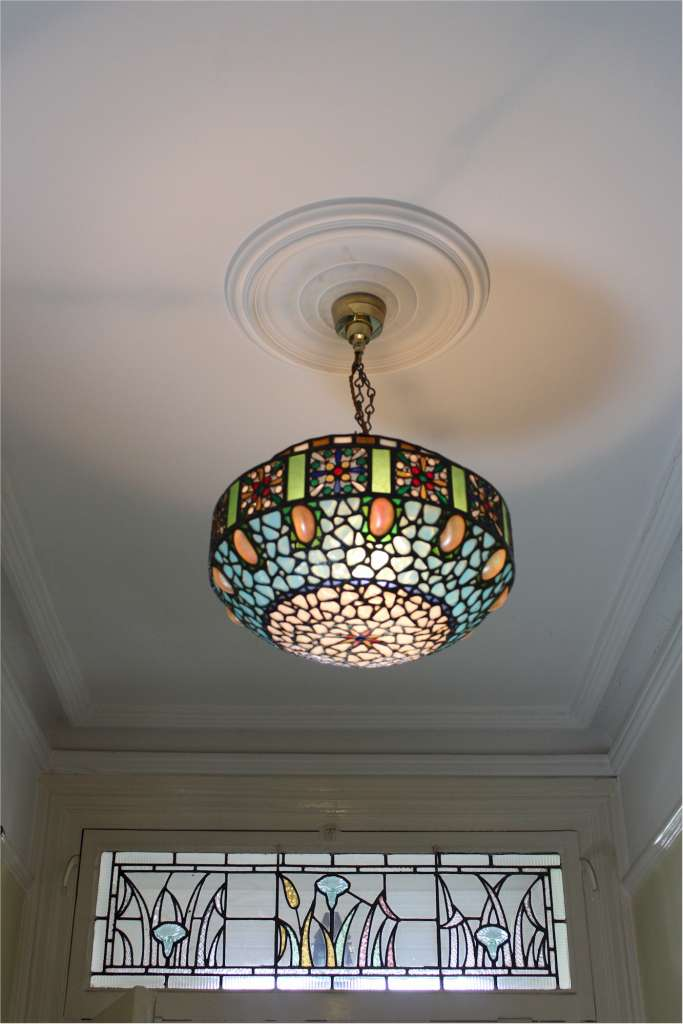 Stunning hanging lamp shade with abalone shells and multi coloured glass