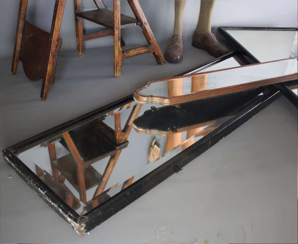 Victorian black framed shop mirror